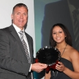 Alec Stewart presents teenaged weightlifter Zoe Smith with the best international newcomer award
