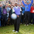 TIGER WOODS PLAYS HIS THIRD SHOT ON THE 18TH HOLE AND HITS THE BALL STRAIGHT AT ME, HITTING MY CAMERA   THE RYDER CUP - CELTIC MANOR - WALES - 2010  COPYRIGHT PHOTO: MARK PAIN + 44 7774 842005. 2/10/2010