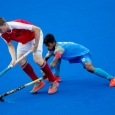 Vivek Sagar Prasad IND tackles Marcin Nyckowiak AUT in the mens Hockey 5s preliminary round pool b at the Youth Olympic Park.The Youth Olympic Games, Buenos Aires, Argentina, Monday 8th October 2018. Photo: Chloe Knott for OIS/IOC. Handout image supplied by OIS/IOC