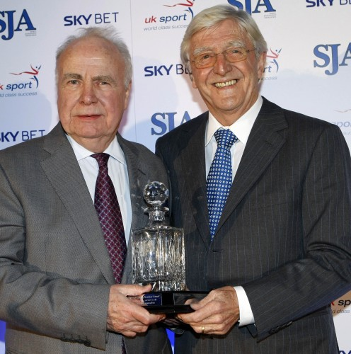 Hugh McIlvanney received a standing ovation from his peers when he went up to collect the Doug Gardner Award for services to sports journalism from the SJA President, Sir Michael Parkinson