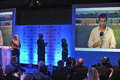 Mike Atherton gave his 2009 award acceptance speech as Sports Writer of the Year by satellite link from the latest England cricket tour