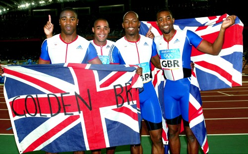 The Great Britain 4x100 metres relay Olympic gold medal-winning squad of (from left) Mark Lewis-Francis, Jason Gardener, Marlon Devonish and Darren Campbell who jointly won the BAWA male athlete of the year award in 2004. Picture by Mark Shearman