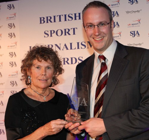 Former sports minister Kate Hoey presents the BBC's Jonathan Overend with his 2011 Sports Broadcaster of the Year award/Photo by STEVE ROWE