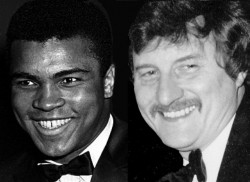 """Ali and Norman Giller at a reception in the 1970s: """"He needed a PR like Einstein needed a calculator"""""""