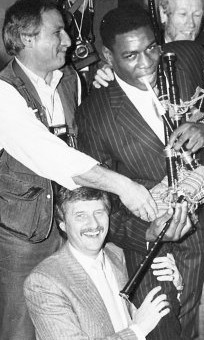 Norman Giller, centre, with Monte Fresco (left) and Frank Bruno in a publicity picture from the 1980s