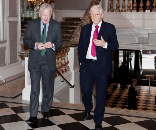 High profile: SJA President Sir Michael Parkinson arrives for our Sports Awards with doyen of sports columnists, the Mail on Sunday's Patrick Collins (left)