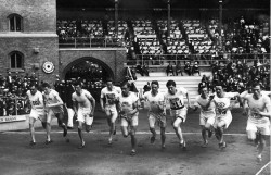 Olympic star: Philip Noel-Baker, fourth from the left, at the start of the 1912 Olympic 1,500m final