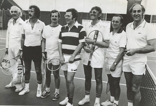 Pignon, left, pictured here after leading the British tennis writers to victory over their American counter-parts. Left to right are Nigel Clarke (Mirror), Ron Atkin (Observer), Barry Newcombe (Evening Standard), Gerry Williams (BBC), David Irvine (Guardian) and John Barrett (Financial Times)
