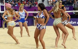 What would de Coubertin have made of this? The dancers at the beach volleyball at Horseguards