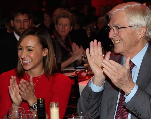 SJA Presidernt Sir Michael Parkinson enjoying 2012's British Sports Awards with Jessica Ennis