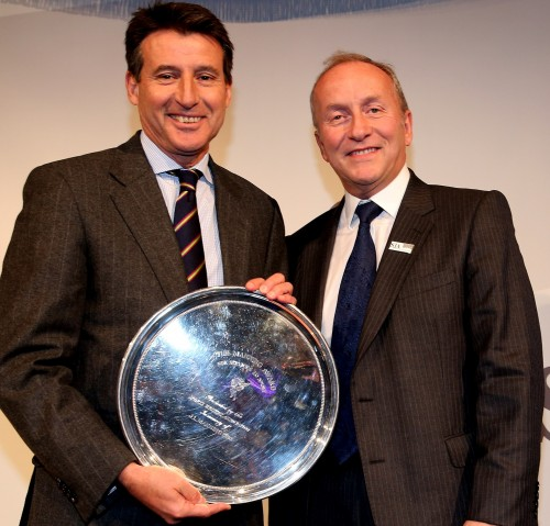 David Walker, right, the SJA deputy chairman, making the presentation of the JL Manning trophy for services to sport to LOCOG chairman  Lord Coe at our British Sports Awards in December 2012