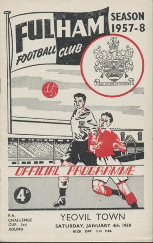 A Fulham programme from the 1957-1958 season (the covers were virtually the same all season in those days). The four-penny cover price? less than 2p
