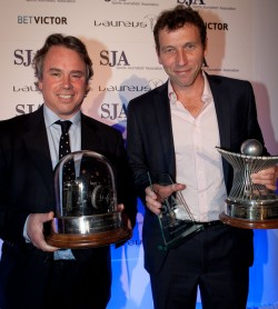 Edward Whitaker, of the Racing Post, and The Times's Michael Atherton, the SJA Sports Photographer and Sportswriter of 2011. Who will win in 2012?