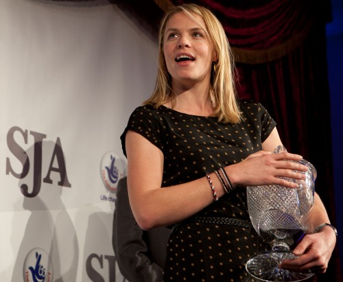 Olympic rowing gold medallist Anna Watkins gave an engaging acceptance speech after collecting the SJA President's Award on behalf of herself and Katherine Grainger