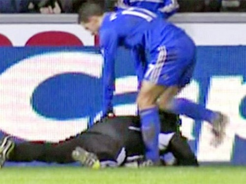 Moment of madness: Eden Hazard and the Swansea ballboy last night