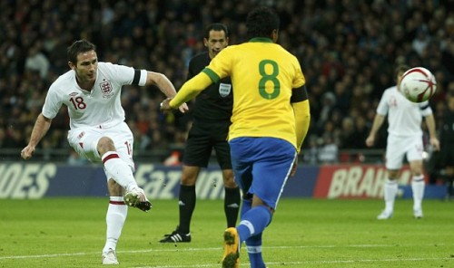 Like watching Brazil: Frank Lampard scores England's second goal in the victory over Brazil at Wembley last night. Does his future lay across the Atlantic?
