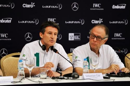 Seb Coe and Carlos Nuzman addressing the Laureus press conference in Rio de Janeiro
