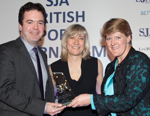 Ben Gallop and Clare Balding collect the Television Sports Programme of the Year trophy on behalf of the BBC from Debbie Jevans, now the chief executive of the organising committee for the 2015 Rugby World Cup in England, after having previously worked at the London Olympic organisers