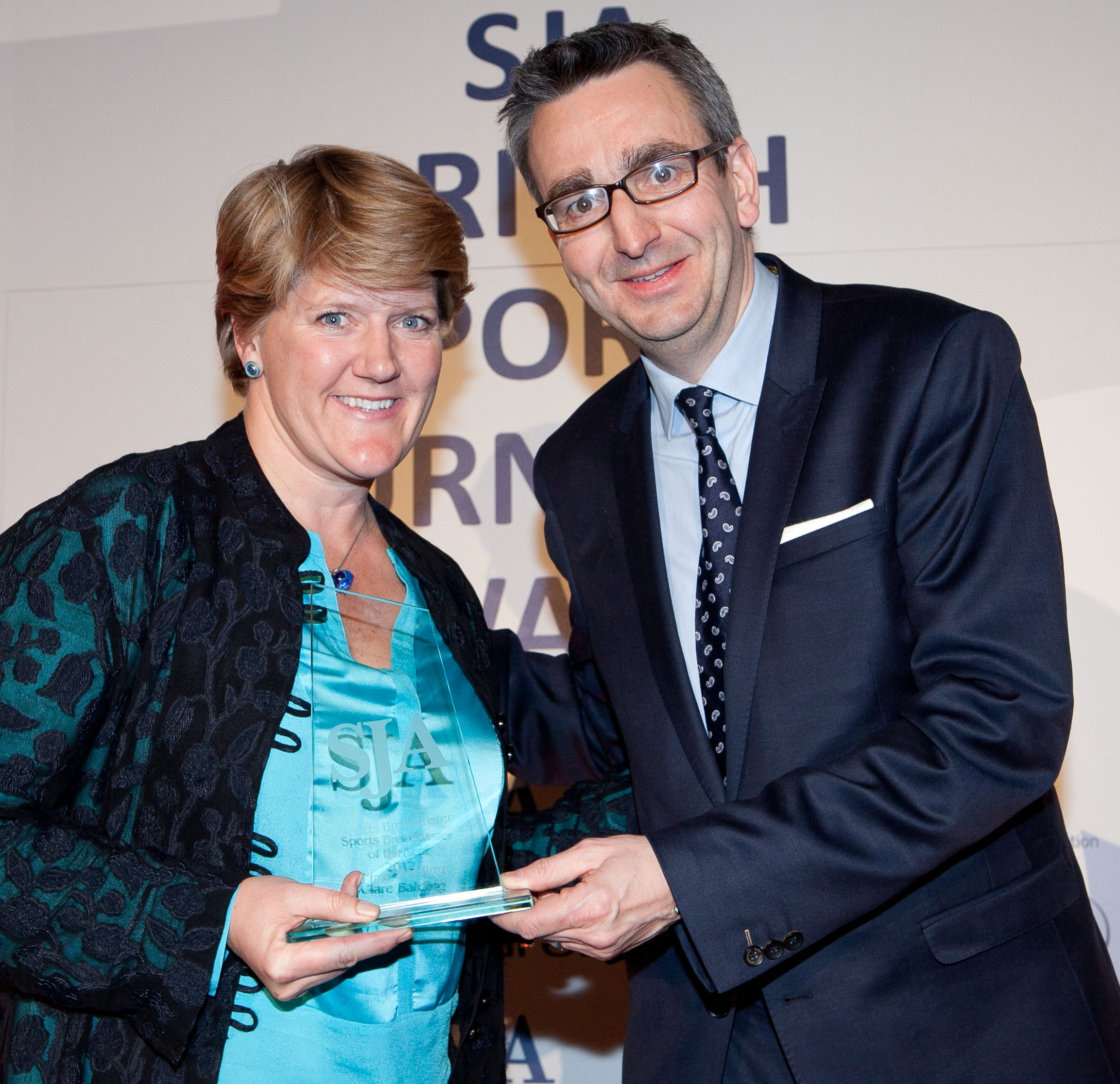 Clare Balding was the 2012 Sports Broadcaster of the Year at our Sports Journalism Awards, here presented with her trophy by the British Paralympic Association's Tim Hollingsworth