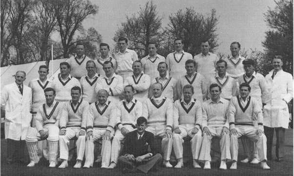 The teams for the Australians' 13-a-side tour match at East Molesey in April 1953. Picture courtesy of EMCC