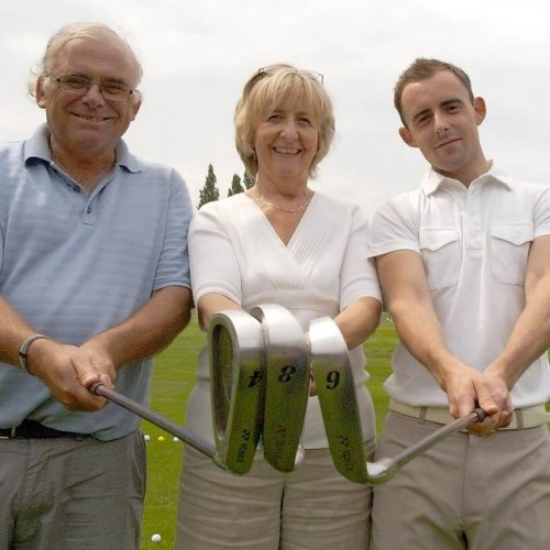 Paul Trow, with wife Helen, and son Philip, all raising funds on the Swing for Sammy golf day