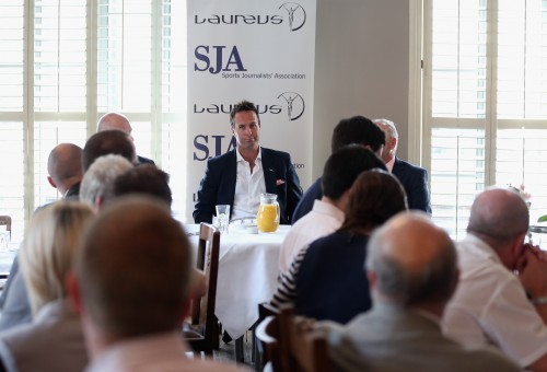 Michael Vaughan addresses a packed SJA audience at today's Laureus-sponsored brunch. Photo by Andrew Redington/Getty Images