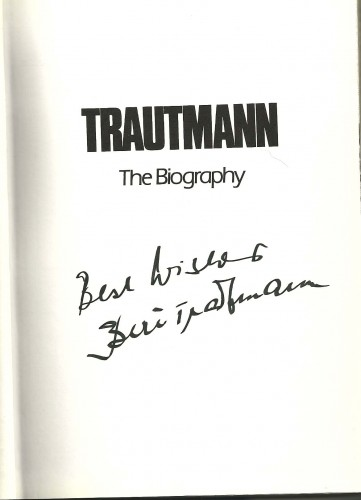 Trautmann's authograph, done in black felt-tipped pen