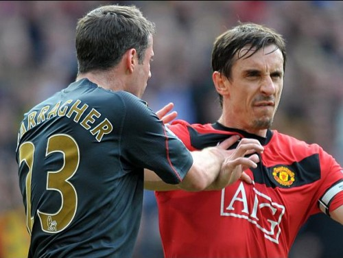 The way they were: Jamie Carragher and Gary Neville might not always agree when performing their Sky Sports duties