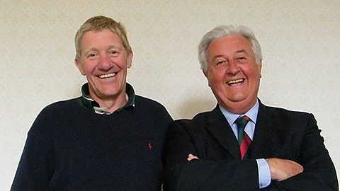No grey areas: Bryan Cooney, right, with one of his sporting legend interviewees, former Scotland rugby captain, John Jeffrey