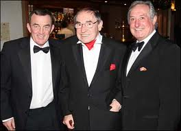 Cliff Morgan in later years at a reception with two other members of the Rugby Hall of Fame, Phil Bennett and Gareth Edwards