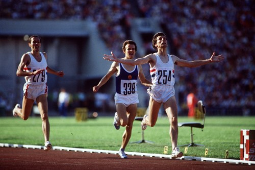 Hindley's handiwork: Sebastian Coe expresses his releif as he wins the Moscow Olympic 1,500m gold medal, the sort of image which Tommy Hindley excelled in taking