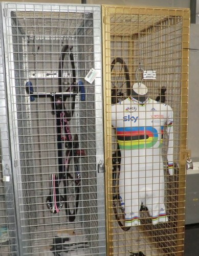 The golden locker at the Sir Chris Hoy Velodrome, reserved for the man with his name over the main entrance