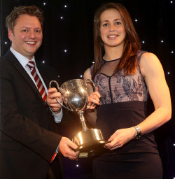 Emily Scarratt accepts the Pat Marshall Award during the Rugby Union Writers Club annual awards evening in January 2015 Photo by Charlie Crowhurst/Getty Images