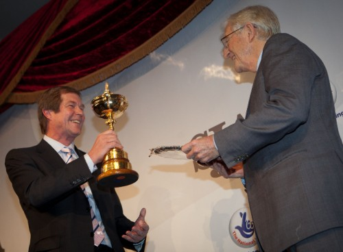 Swap shop? George O'Grady, on behalf of the Ryder Cup-winning European team, hands over his golden trophy to SJA President Sir Michael Parkinson, in return for the SJA's Team of the Year salver