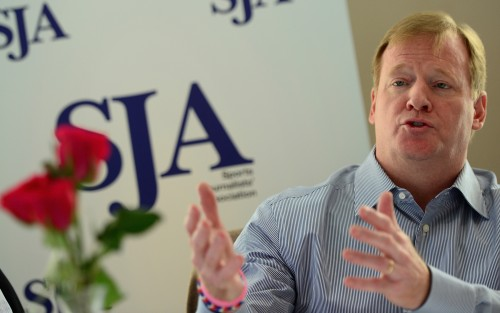 "The ""most powerful man in world sport"", Roger Goodell, outlines the NFL's plans for the game in Europe at a SJA lunch yesterday. Photo by Jamie McDonald/Getty Images"