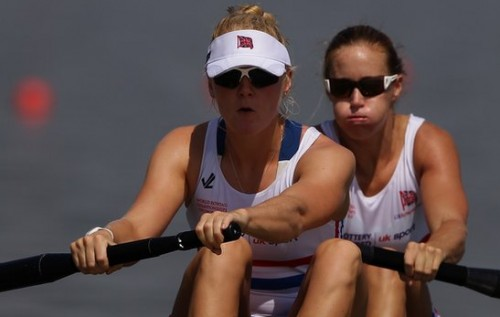 Raw power: Polly Swann (front) and Olympic gold medallist Helen Glover went all year undefeated in the women's pairs, winning the world title