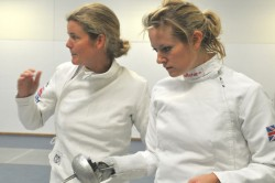 """Sportophobic"" Jen Offord, right, learning the basics of fencing from Olympic modern penathlon medallist Kate Allenby"