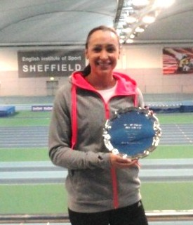 Back in training: Jessica Ennis-Hill at the English Institute of Sport yesterday, having received the UEPS European Sportswoman of the Year trophy for her 2012 Olympic achievements