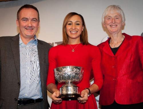 All-round performer: Jessica Ennis receives the SJA's Sportswoman of the Year trophy from Andy Duncan, of sponsors The National Lottery, and Baroness Campbell, the out-going chair of UK Sport - the two organisations which did so much to put in place the funding that helped Britain's sports stars succeed in 2012