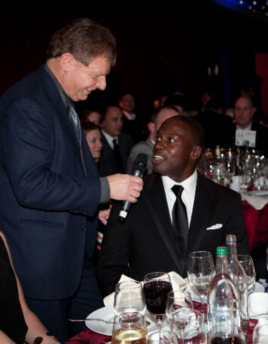 "Martin Kelner, the self-proclaimed ""Second Banana"" of the SJA's presenting team, interviews former rugby international Martin Offiah, one of the many star guests at the British Sports Awards"