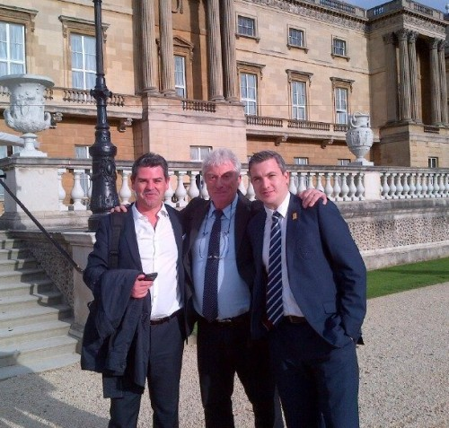 Garden party: Collett, centre, with the FA's Adrian Bevington and Greg Demetrisou at Buckingham Palace this week