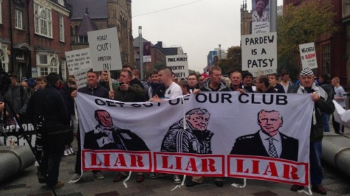 Fans protest against the ownership and management of Newcastle United - a point of issue in the ban on local papers
