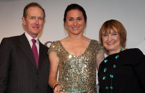 Paralympic cyclist Sarah Storey receives her SJA honour from Tessa Jowell MP, the former Olympics Minister, and Richard Meade, the three-day event Olympic gold medallist