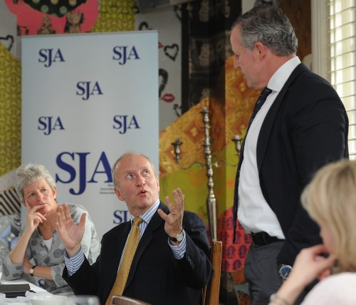 The SJA's vice-chair, Janine Self, and chairman, David Walker, put questions to Sean Fitzpatrick during our SJA Laureus lunch. Phot by Tom Dulat/Getty Images