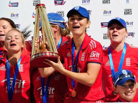 Winners on points: Charlotte Edwards and her England women's cricket team celebrate another successful series