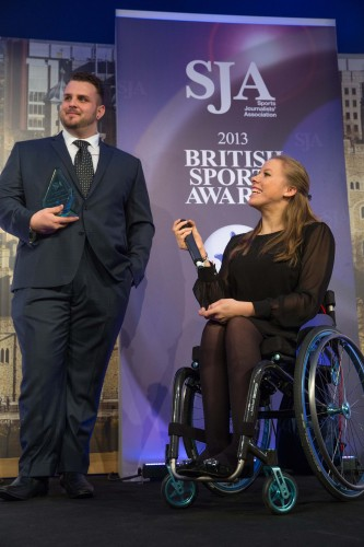 Aled Davies and Hannah Cockcroft, delighted winners of the SJA's Bill McGowran Trophy