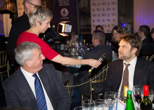 Watched by an amused Sir Ian McGeechan (left), our co-presenter Sybil Ruscoe interviews SJA committee member and former head of Telegraph Sport Ben Clissitt, who managed to have two sporting knights around his table