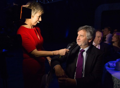 Clive Efford, Labour's shadow spokesman on sport, and Millwall fan, is interviewed at the SJA British Sports Awards by Sybil Ruscoe, who is much taller on the wireless