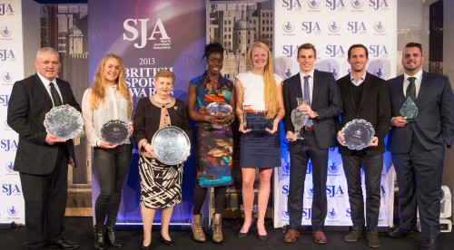 Winners all: from the left: Warren Gatland (British and Irish Lions, Team of the Year); Charley Hull (Best International Newcomer); Dame Diana Ellis (Outstanding Contribution); Christine Ohuruogu (Sportswoman); Polly Swann (Chairman's Award); Nick Matthew (Committee Award); Sir Ben Ainslie (The National Lottery Spirit of Sport); and Aled Davies (one of our Bill McGowran Toprhy winners for disability sport)