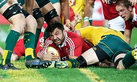 Alex Corbisiero scores the Lions' opening try against Australia during the decisive third Test in Sydney. The British and Irish Lions won the SJA's vote for Team of the Year